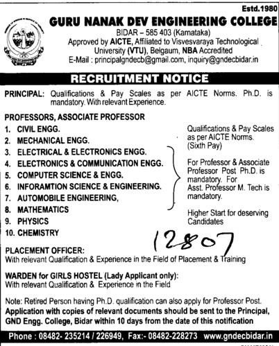 Professor,Asstt Professor and Associate Professor etc (Guru Nanak Dev Engineering College (GNDEC))