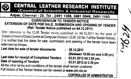 Regarding Tender (Central Leather Research Institute)