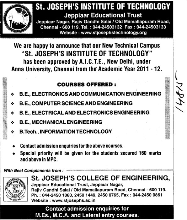 BE in all Trades (St Josephs College of Engineering)