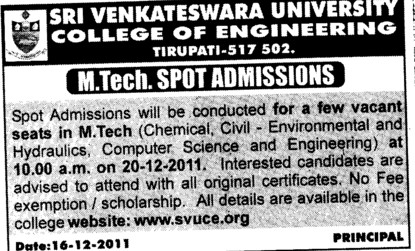 MTech Course (Sri Venkateswara University)