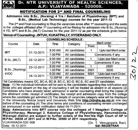 BPT and BSc Nursing etc (NTR University of Health Sciences (NTRUHS))
