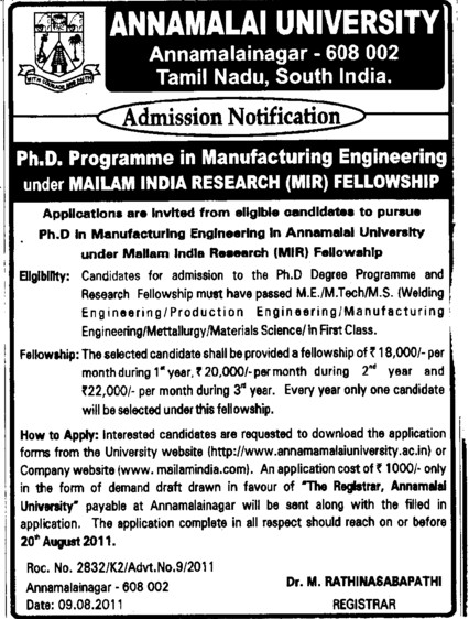 PhD Programme 2012 (Annamalai University)