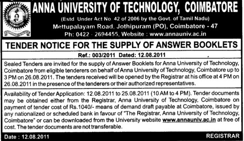 Supply of Answer Booklets (Anna University)