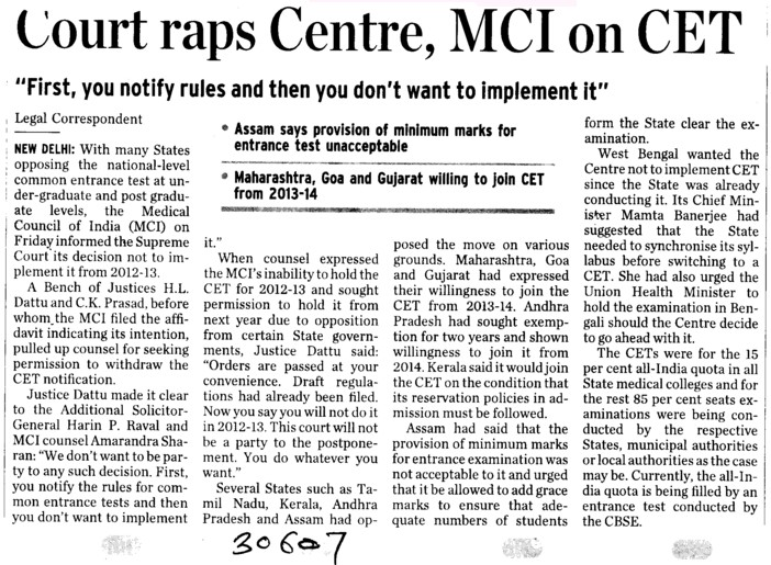 Court raps centre MCI on CET (Medical Council of India (MCI))