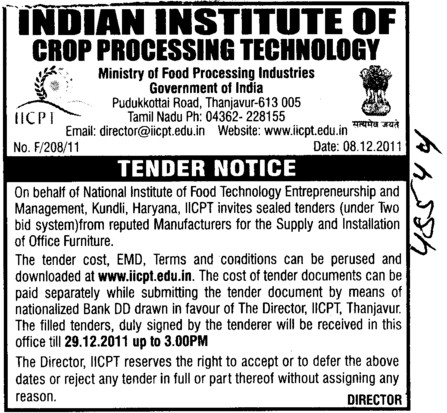 Supply and Installation of Furniture (Indian Institute of Crop Processing Technology (IICPT))