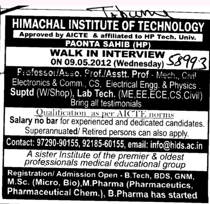 Professor,Asstt Professor and Associate Professor etc (Himachal Institute of Technology)