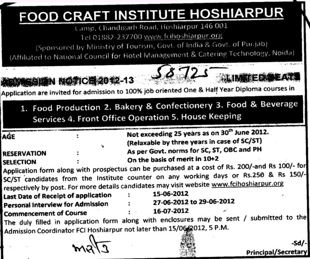Diploma Course in Food Production and House Keeping etc (Government Food Craft Institute)