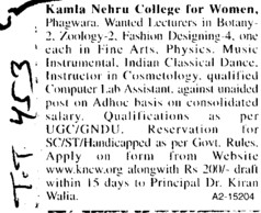 Lecturer and Instructors (Kamla Nehru College for Women)