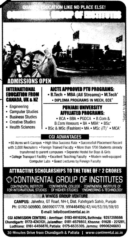 BTech,MTech and MBA etc (Continental Group Institute Jalvehra)
