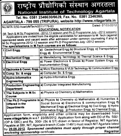 MTech in Mechanical,Electrical and PhD Programmes etc (National Institute of Technology NIT)