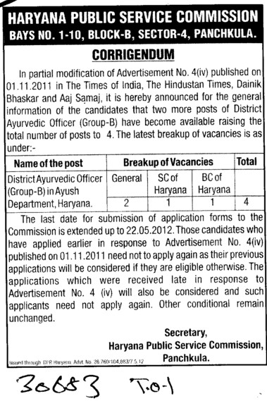 Dictrict Ayurvedic Officer (Haryana Public Service Commission (HPSC))