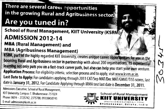 MBA in Rural Management and Agribusiness Management (KIIT University)