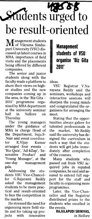 Students urged to be result oriented (Sri Venkateswara Veterinary University)