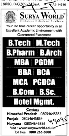 BTech,MTech,BBA,BCA and MBA Courses  etc (Surya Group of Institutions)