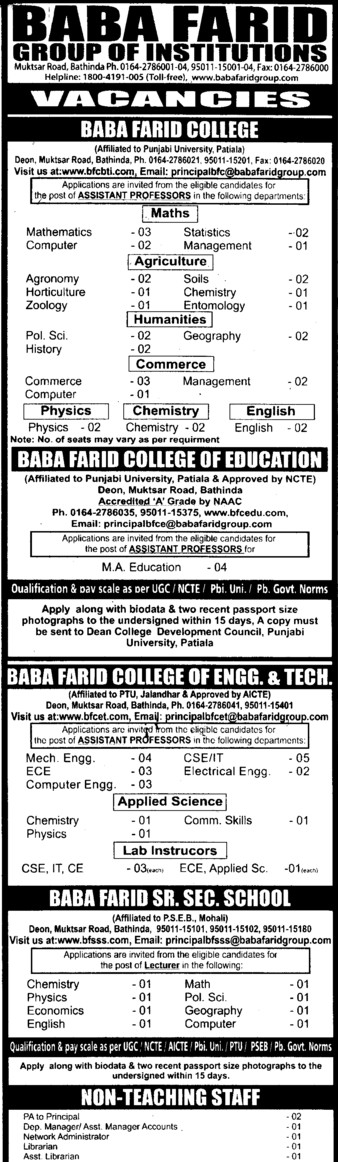 Asstt Professor for various subjects (Baba Farid College of Education Deon)