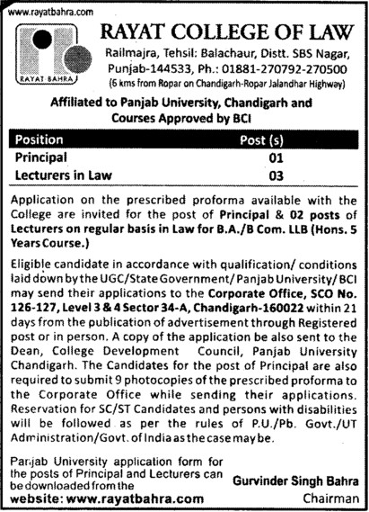 Principal and Lecturer in Law (Rayat College of Law)