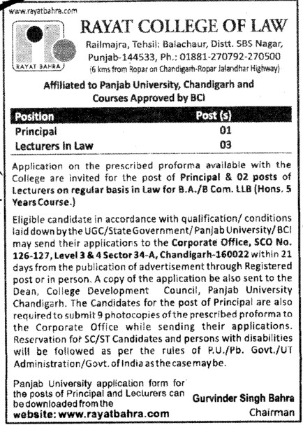 Principal and Lecturers in Law (Rayat College of Law)