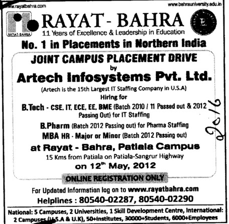 Number 1 Placement in Northern region (Rayat and Bahra Group)