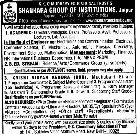 Director,Dean,Professors,Lab Assistant,Accountants,Librarians and Driver etc (Shankara Institute of Technology (SIT))