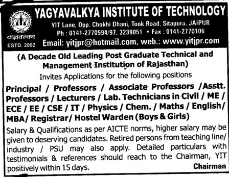 Principal,Professor,Asstt Professor and Associate Professor etc (Yagyavalkya Institute of Technology (YIT) Sitapura)