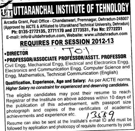 Director,Professor,Asstt Professor and Associate Professor etc (Uttaranchal Institute of Technology (UIT))