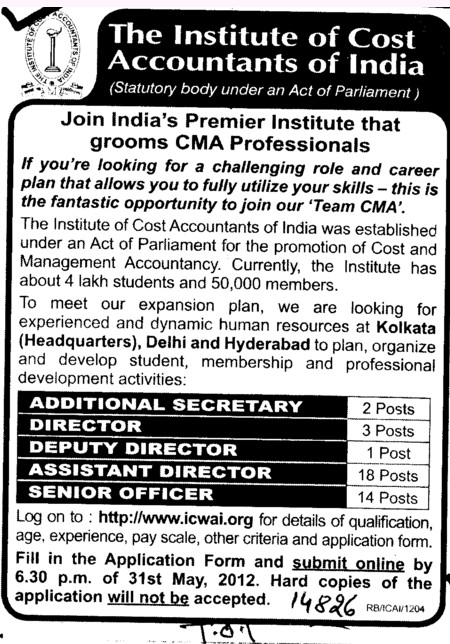 Director,Deputy Registrar and Senior Officer etc (Institute of Cost and Works Accountants of India (ICWAI))