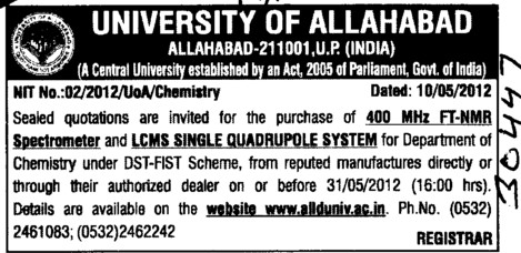 FT NMR Spectrometer (University of Allahabad (UoA))