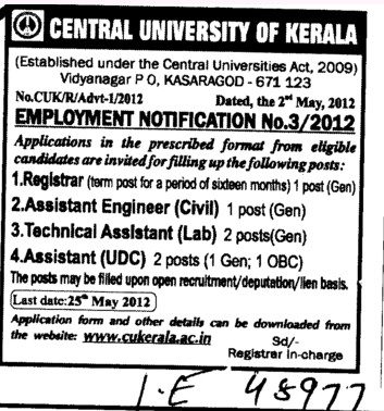 Registrar,Asstt Engineer and Technical Assistant etc (Central University of Kerala)