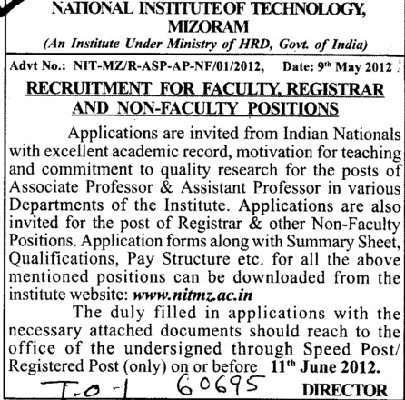 Faculty,Registrar and Non faculty position (National Institute of Technology (NIT))