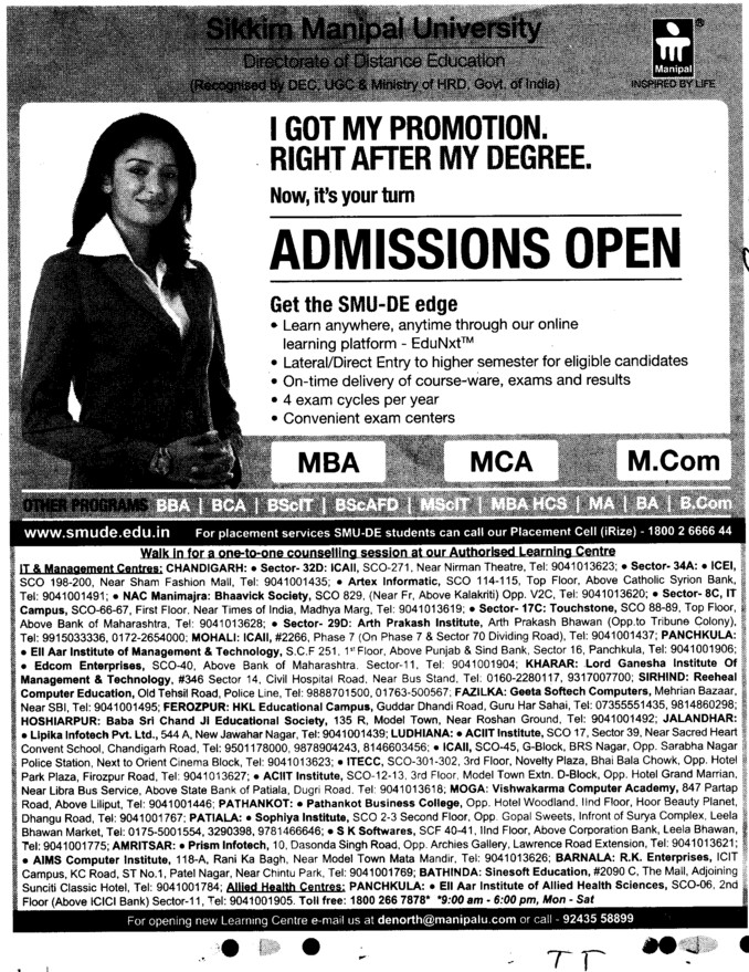 MBA,MCA and MCom (Sikkim Manipal University of Health Medical and Technological Sciences)