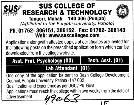 Asstt Professor in Psychology and Lab Attendent (Shaheed Udham Singh College of Research and Technology)