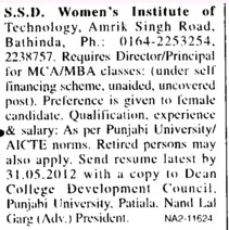Director and Principal for MBA and MCA Courses (SSD Womens Institute of Technology)