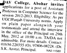 Asstt Professor in computer science (DAV College)