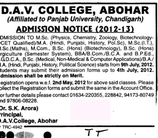 MA,MCom,BBA,BCA and BPED etc (DAV College)