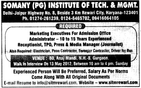 Marketing Executives and Administrator (Somany Institute of Technology and Management (SITM))