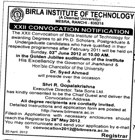 22th Annual Convocation (Birla Institute of Technology (BIT Mesra))