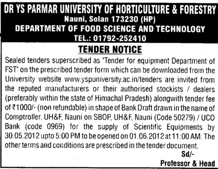 Equipment Department of FST (Dr Yashwant Singh Parmar University of Horticulture and Forestry)