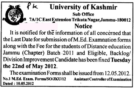 MEd Examination form (University of Kashmir Hazbartbal)