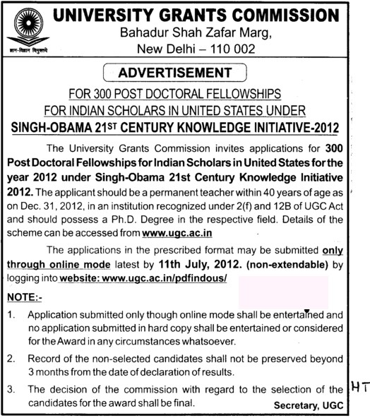 For 300 Post Doctoral Fellowships (University Grants Commission (UGC))