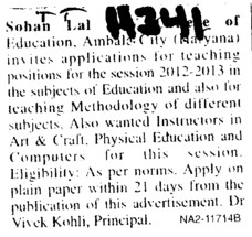 Instructor in Arts and Crafts (Sohan Lal DAV College of Education)