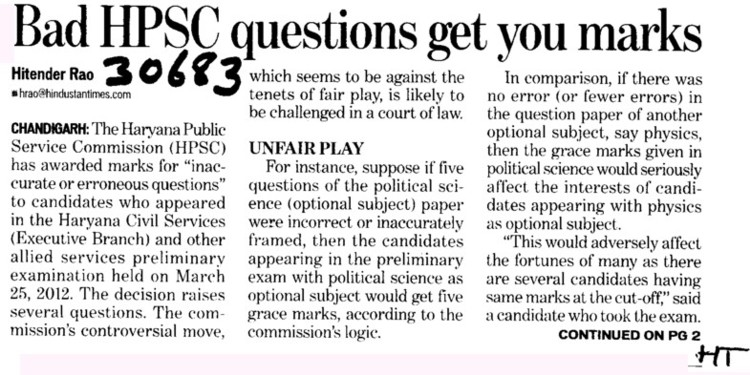 Bad HPSC questions get you marks (Haryana Public Service Commission (HPSC))
