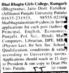 Principal on regular basis (Bhai Bhagtu Girls College)