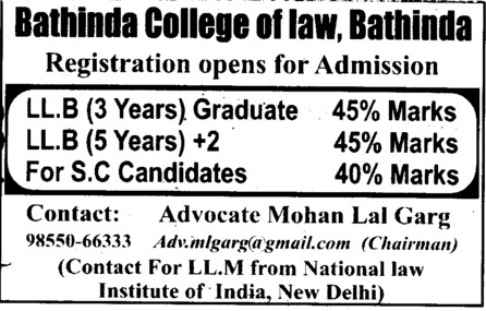Three years and five years LLB Courses (Bathinda College of Law)