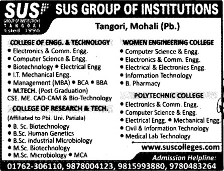 BBA,BCA,MBA,MTech and MSc Courses etc (SUS Group of Institutions)