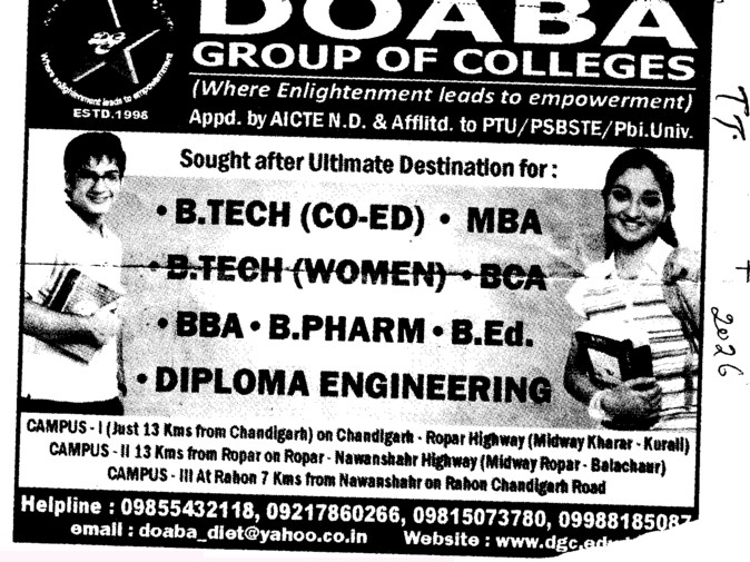 BTech,MTech and MBA (Doaba Group of Colleges (DGC))