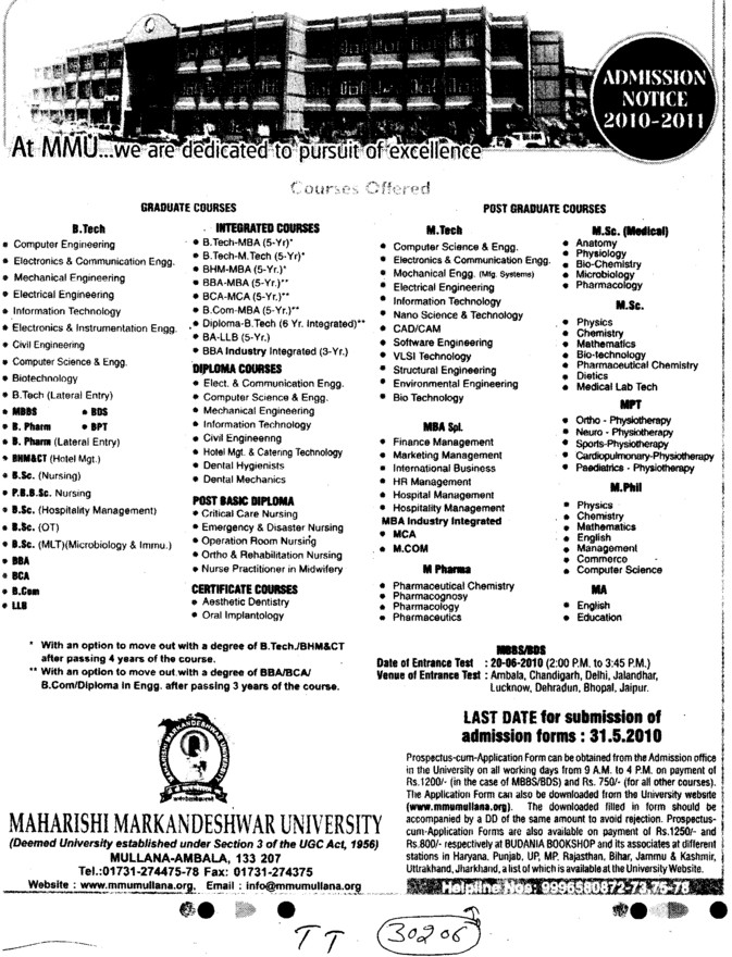 MBBS,BDS,BBA and BCA Courses etc (Maharishi Markandeshwar University)