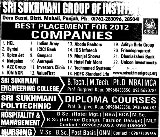 BTech,MTech and MBA (Sri Sukhmani Group of Institutes)