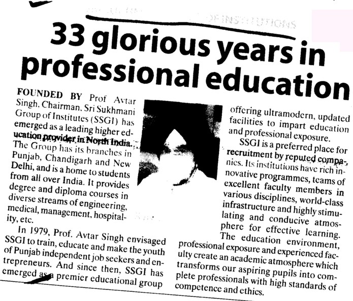 33 glorious years in professional education (Sri Sukhmani Group of Institutes)
