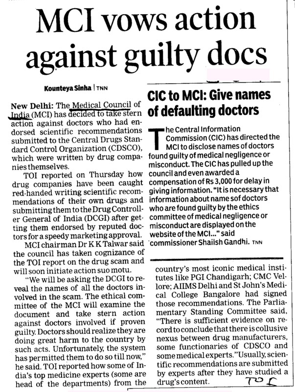 MCI vows action against guilty docs (Medical Council of India (MCI))