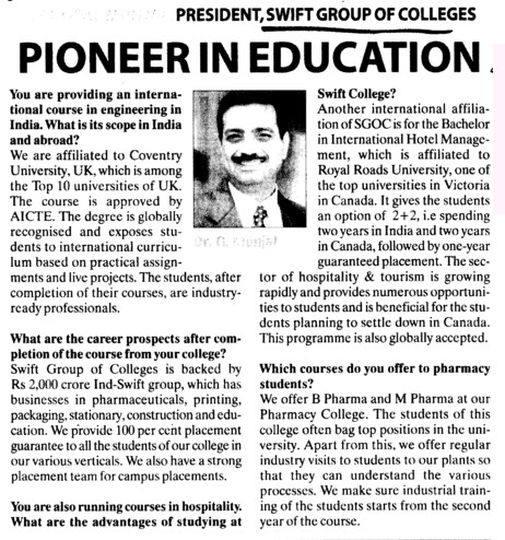 Pioneer in Education (Swift Group of College (SGOC))